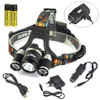 BORUiT RJ 3001 Cree XMl2 Headlamp LED USB Rechargeable Head lamp Charger Battery 18650 Outdoor Hiking Camping Lamp Head Lantern