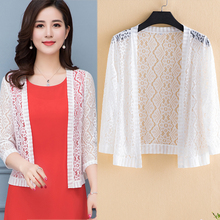 Summer Fashion Women Lace Shawl Solid Hollow Out Tops Beach Blouse Sunscreen Cover Up Beachwear Cardigan Shirt Plus Size 5XL