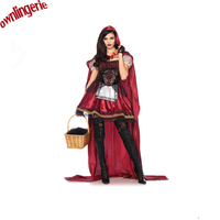 One Size Sexy Little Red Riding Hood Adult Queen Costumes Cape Long Dress Fancy Princess