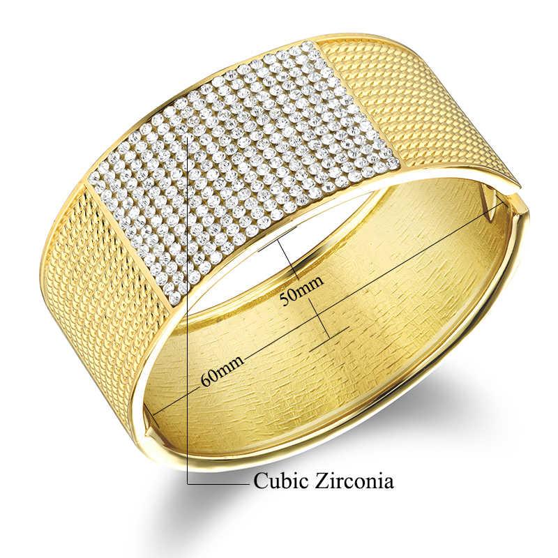 Высокое качество кубического циркония золотые браслеты Дубая бренд Для женщин роскошный Широкий коренастый Браслеты манжеты Дубай золотые украшения