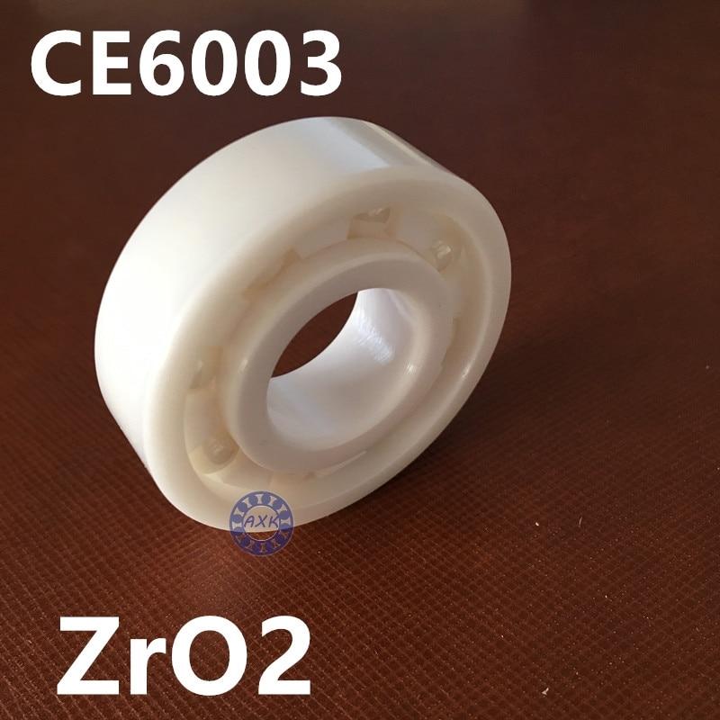 Подробнее о Full Ceramic Bearing 6003 17x35x10 mm Ball Bearings Non-magnetic Insulating PTFE Cage ABEC 3 6003 ceramic bearing 17x35x10 zirconia zro2
