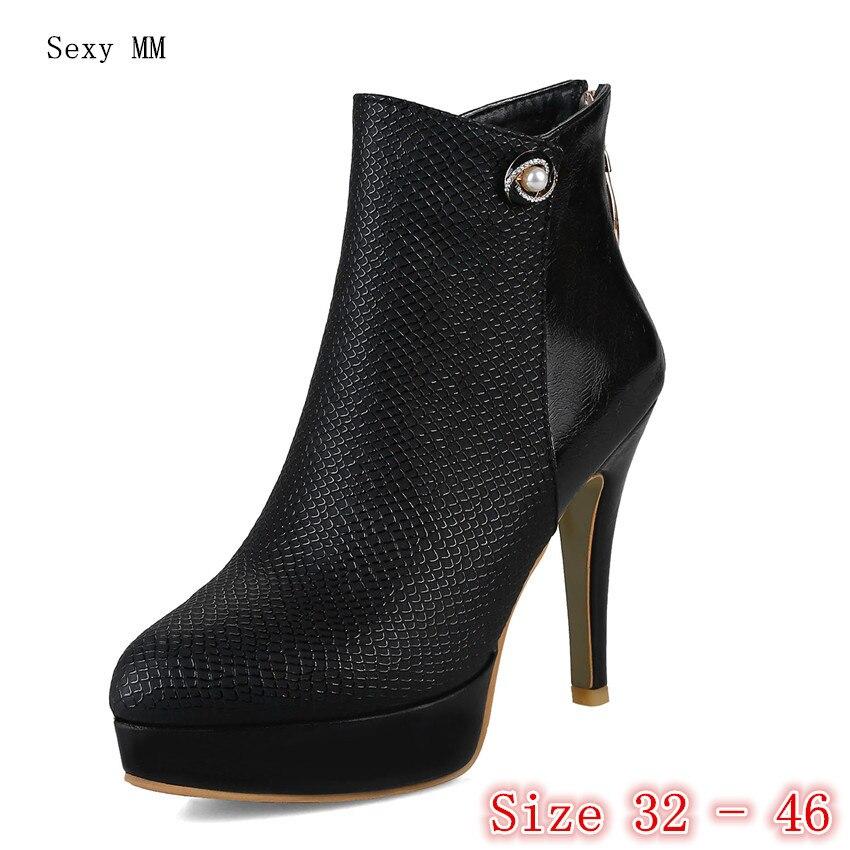 Plataforma 45 Otoño Pequeña 43 46 blanco Alto Primavera 32 Negro Tobillo 42 De 40 41 rojo 33 Mujer 44 Grande Zapatos Tacón Cortas Botas Talla 07UqRw