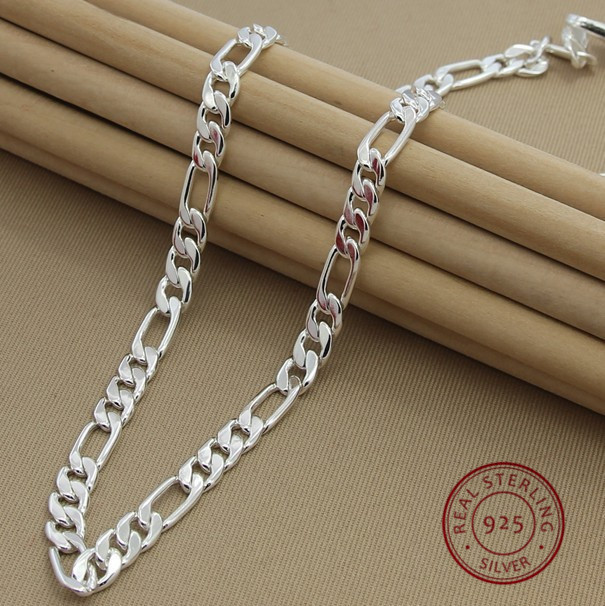"""Mens Womens Solid 925 Sterling Silver Figaro Chain Necklace Italy 16/'/'-24/""""  3mm"""