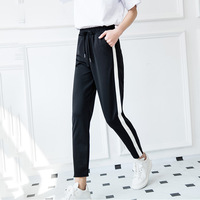 Loose Pants For Women 2017 spring/Fall Fashion Winter Pants Women Grey Trousers Mid Waist Drawstring Patch Peg Casual Long Pants