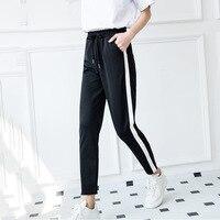 Losse Broek Voor Vrouwen 2017 lente/Fall Fashion Winter Broek Vrouwen Grey Broek Mid Taille Trekkoord Patch Peg Casual lange Broek