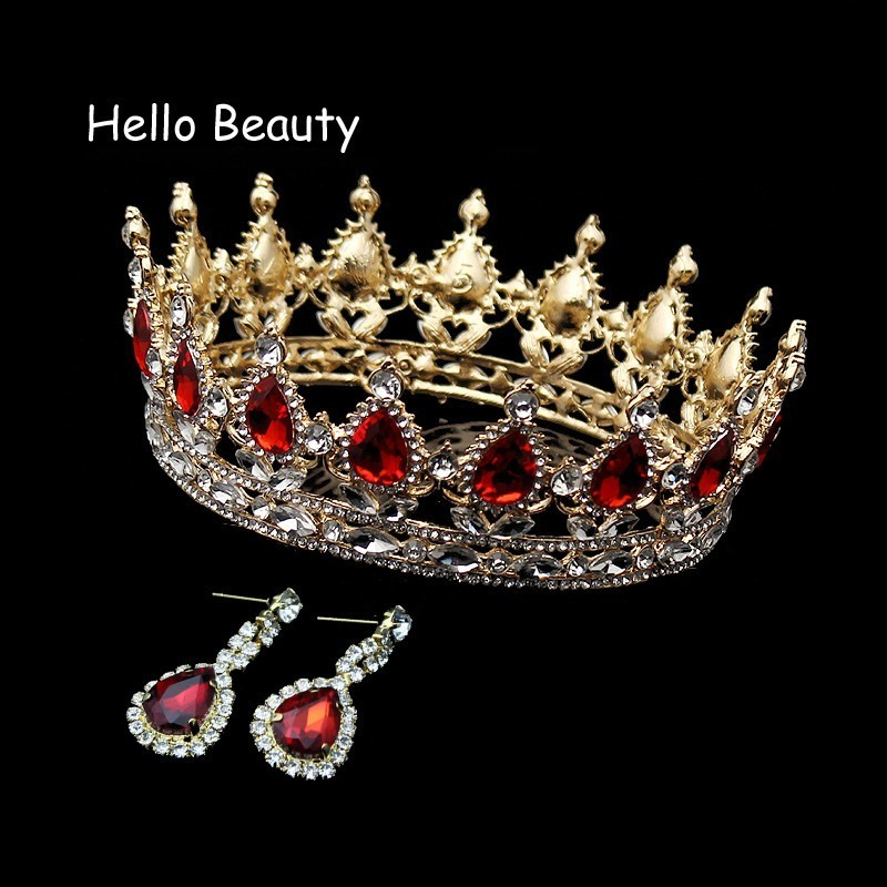 Big Vintage Red Crystal King Queen Prom Tiaras Full Round Rhinestone Crown Wedding Diadem Pageant Bridal Bride Hair Accessories