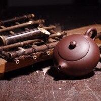 Chinese Yixing Tea Pot Kungfu Hand Made Flat Xishi Pot Qing Cement Mud Tea Set Teapots Author Shao Junya 188 Ball Hole