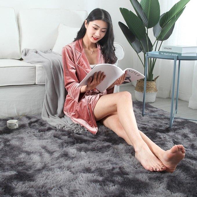 Luxe en peluche fourrure tapis salon doux Shaggy tapis enfants chambre cheveux chambre tapis canapé Table basse tapis de sol moderne grands tapis - 2