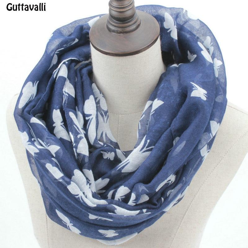 Guttavalli Fashion Woman Solid Butterfly Print Loop Shawl Women Spring Stripes Ring Scarves Female Autumn Animal Infinity Scarf