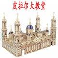 Деревянный 3D модель здания игрушка в подарок головоломки ручной работы соберите игры ремесло строительство kit пилар собор Испании Сарагоса 1 шт.