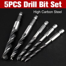 5PCS Drill Bit Set 4mm  5mm  6mm 8mm 10mm Change Metal Tools 1/4 Hex Shank Wood HCS Rustproof Woodworking Drill Hexagonal Shank 5 pcs drill bit set 1 4 hex shank wood hcs drill bit set 4 5 6 8 10mm quick change metal tools hex cordless screwdrivers