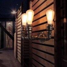 3 Главы Nordic Стиле Лофт Промышленные Лампы Труб Старинные Настенные Светильники Для Дома Античный Тумбочка Эдисон Бра Освещения