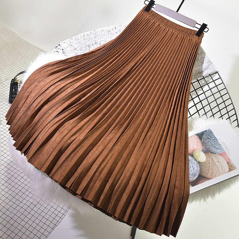 Mode femmes élégantes Jupe plissée nouveau automne hiver taille haute daim jupes femmes Jupe Femme Maxi longue Jupe Saia Longa C4972