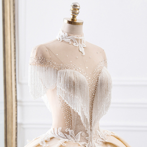 Image 4 - Vestido de novia de cuello alto, novedad, vestidos de princesa de tul, Hochzeitskleid, Mangas de borla, Abiti da Sposa, brillante, Mariee