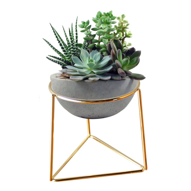 Creative Desktop White Mini Ceramic Plant Flower Pots Planter with  Geometric Golden Iron Rack Holder for Flower Succulent Plants-in Flower  Pots &