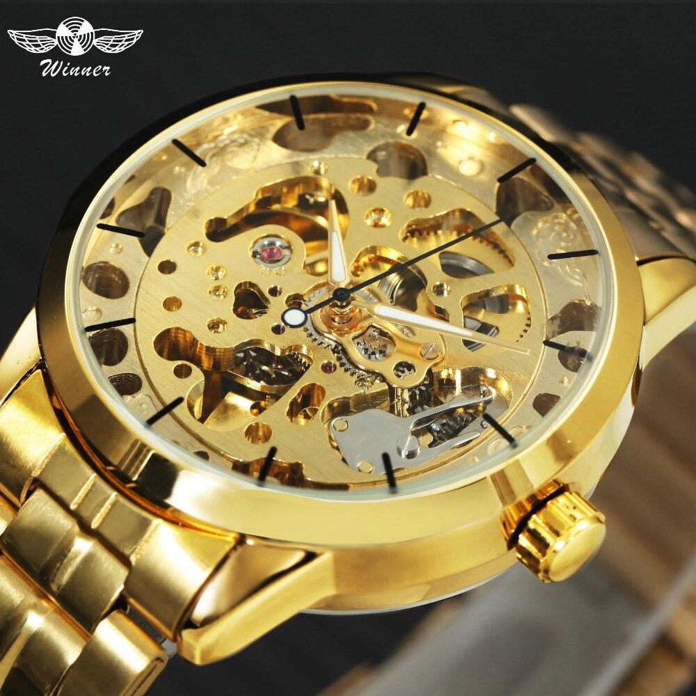 WINNER Luxury Golden Men Automatic Mechanical Wrist Watches Skeleton Louvre Series Luminous Hands Full Stainless Steel Watches