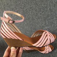 2016 Korean Summer Women Wedge Flat Peep Toe Sandals Buckle Hollow Out Sewing PU Leather Sweet