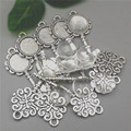 10 set/lot Antique Silver Metal Alloy Keys 28*72mm (Fit 20mm Diy) Round Cabochon Pendant Settings+Clear Glass Cabochons A1019
