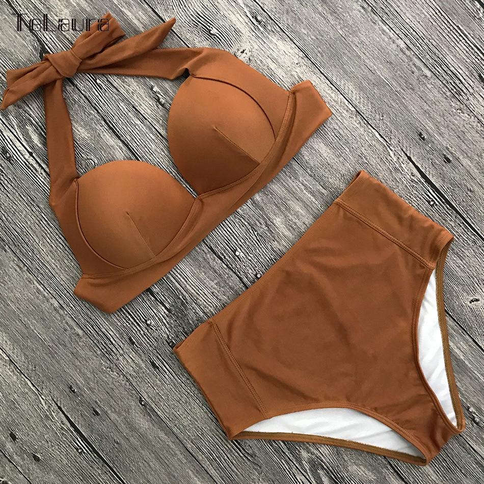 HTB1ygeAcbZnBKNjSZFrq6yRLFXak TeLaura Sexy High Waist Bikini Set Swimwear Women Swimsuit Push Up 2019 Womens Bikini Halter Top Bathing Suit Beachwear Biquini