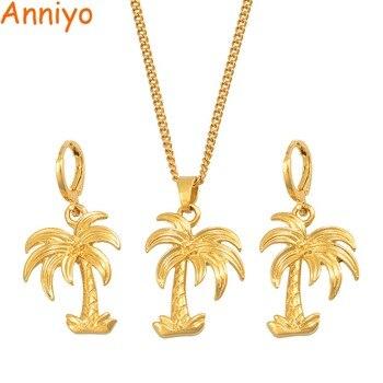 18f77666144c Anniyo del árbol de coco colgante collares pendientes conjuntos para las  mujeres de Color oro de planta de moda joyería regalos de fiesta  013716