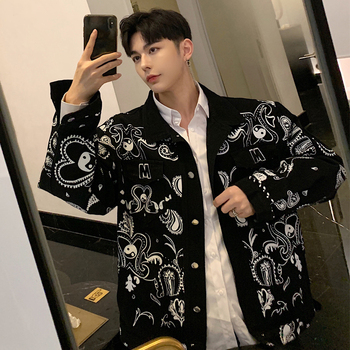 2019 Autumn New Print Pattern Personality Tide Men's Jacket Super Handsome Youthful Casual Coat Size S-XL