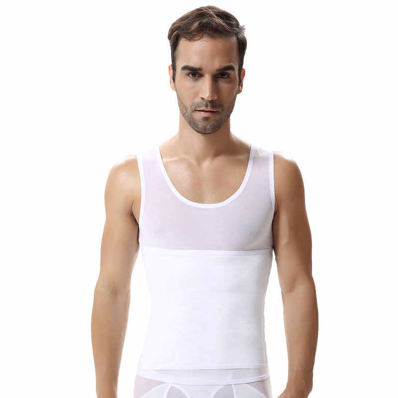 Для мужчин жилет для похудения живота Пояс рубашка с поясом майка облегающая мужской жилет для лечения ГИНЕКОМАСТИИ черный корсет под грудь Корректор осанки