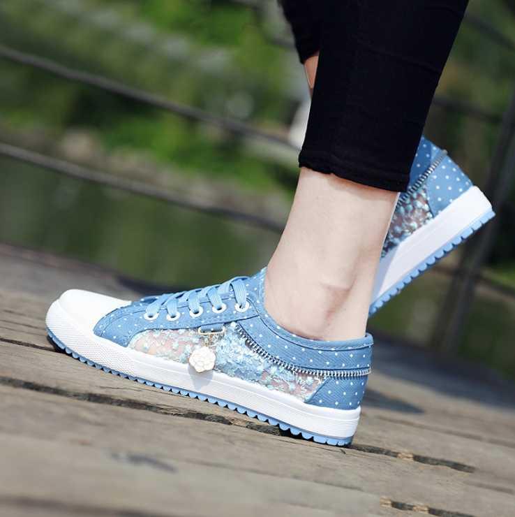 2018 yaz kore versiyonu yeni kadın hollow denim örgü ayakkabı düz rahat ayakkabılar nefes ayakkabı öğrenciler net ayakkabı