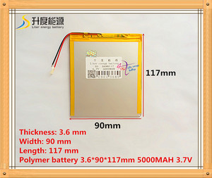 Free shipping ultra-thin high-capacity lithium-ion polymer battery 3.7 V 3690117 5000MAH tablet W28
