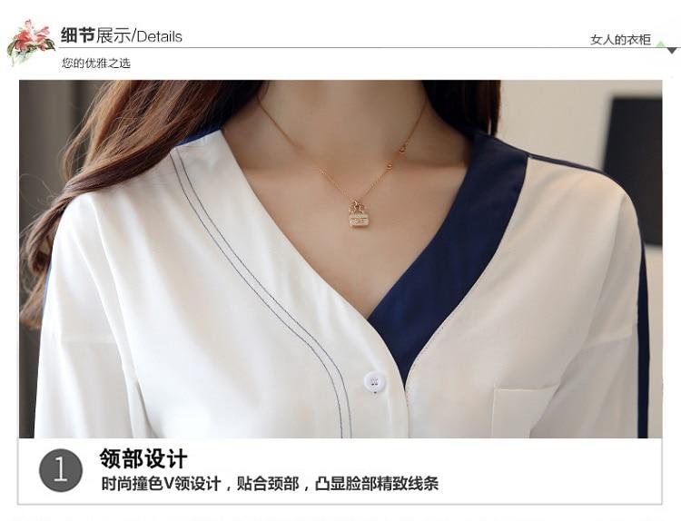 Sexy V-neck Lace Blouse Fashion Women's Blouses Shirt 2019 new fashion spring  bow tie Chiffon  Long Sleeve  Shirts Ladies 930H3