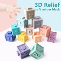 Bopoobo Silicone Building Blocks Baby Grasp Toy 3D Touch Hand Soft Balls Baby Massage Rubber Teethers Squeeze Toy Toys