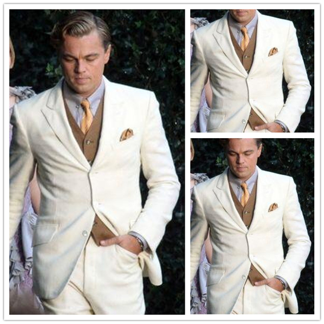 Custom Made Beige Casual Linen Suit Men\'s Wedding Prom Suits For ...