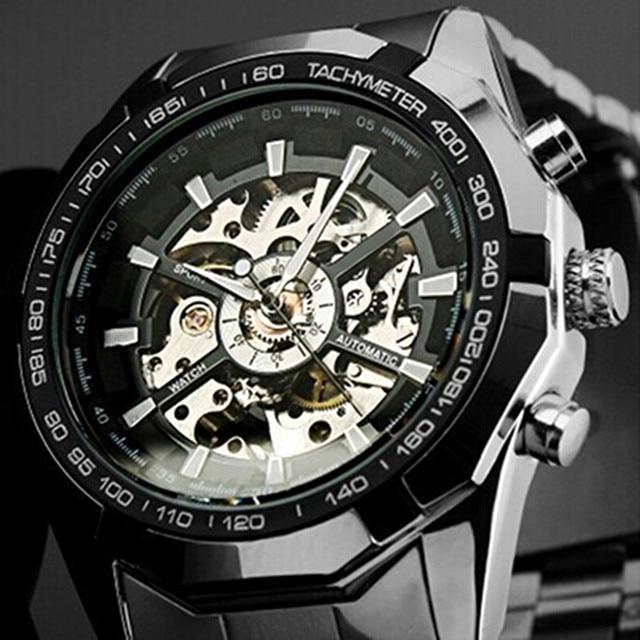 2018 Stainless Steel Hand-Winding hollow Automatic Sport Mechanical Wrist Watch Men
