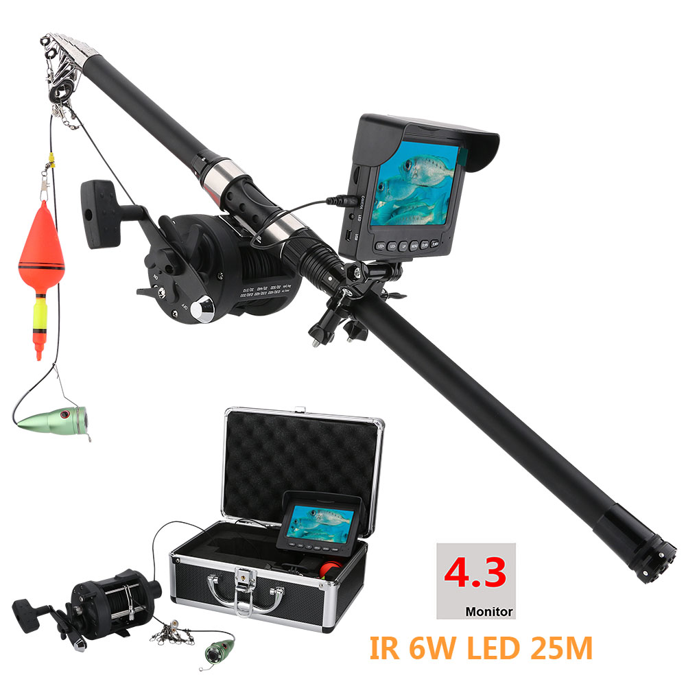 GAMWATER 15M 25M HD 1000TVL Underwater Ice Fishing Camera Sea wheel Video Fish Finder 4.3 LCD 6W IR LED 165 Degrees Angle eyoyo 20m hd 1000tvl underwater ice fishing camera video fish finder 4 3 lcd 8pcs ir led 150 degrees angle