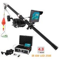 GAMWATER 15 м 25 HD 1000TVL подводный лед Рыбалка камера море колеса видео рыболокаторы 4,3 ЖК дисплей Вт 6 Вт ИК светодио дный 165 градусов угол