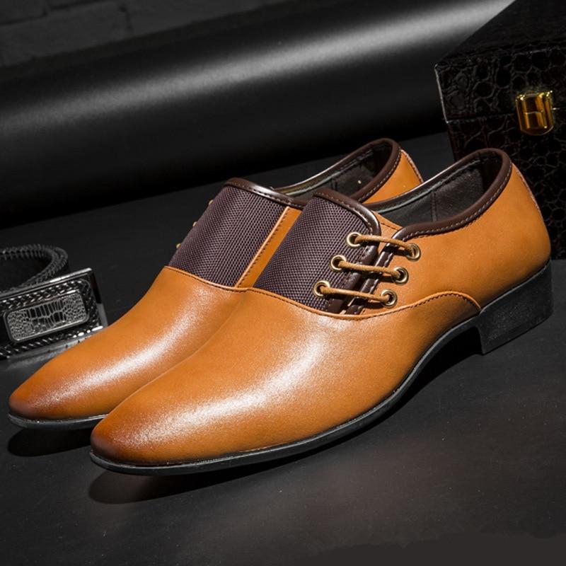 71a54ba008 Moda marrón Clásico Marca 38 De Oxfords Nueva amarillo Punta Toe Negocios Vintage  Para Fiesta Hombres 48 Zapatos ...