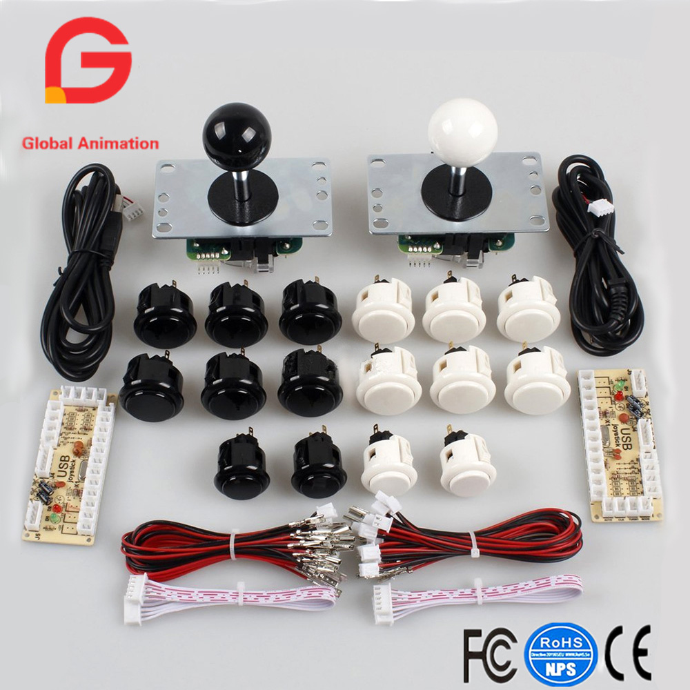 Classic 2 Player original Sanwa 5Pin 8way Joystick Arcade Kit DIY for PC Joystick & Raspberry Pi Retro DIY Projects & Mame Jamm