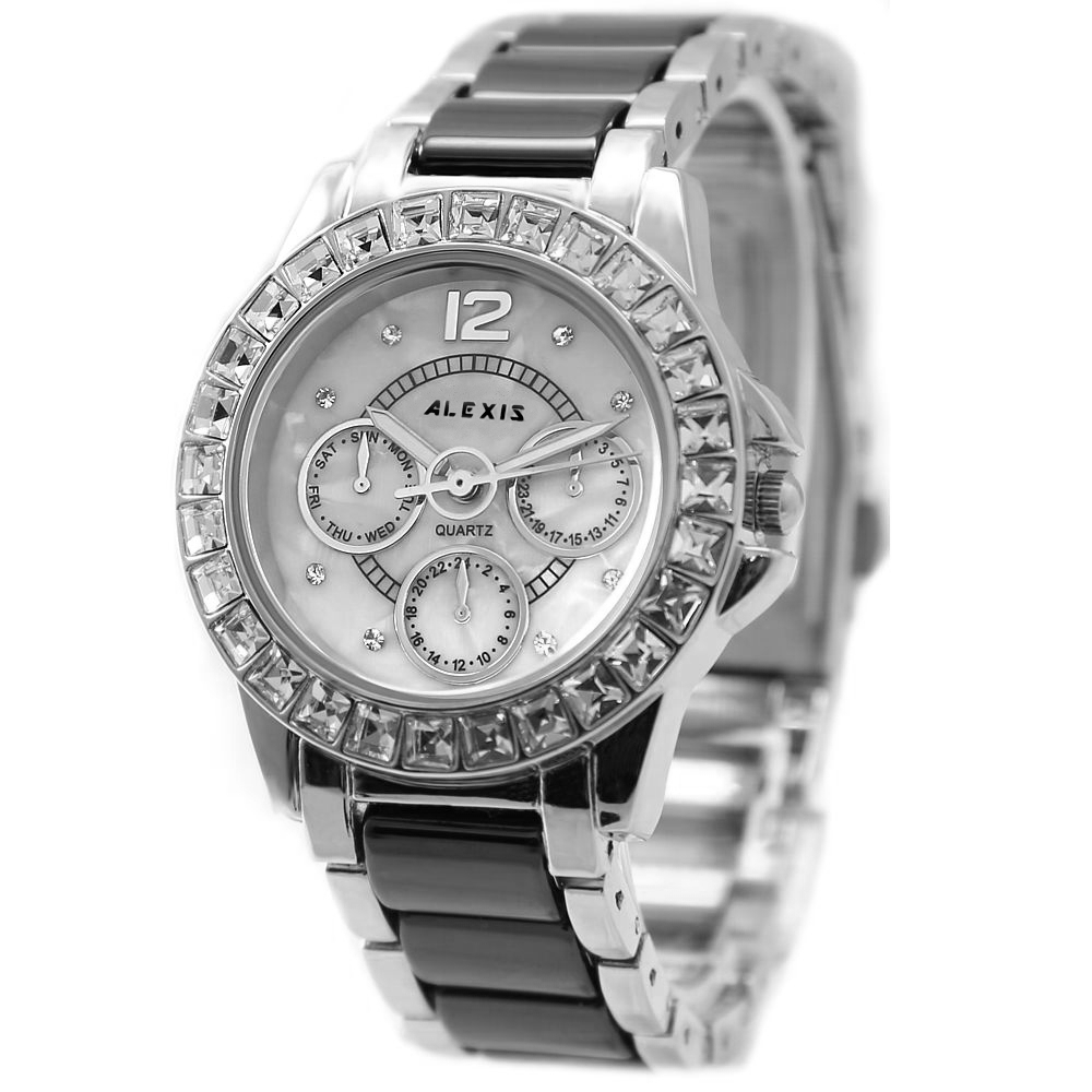ФОТО ALEXIS Brand Good Design For Ladies Good Design Silver Ceramic Watches White Dial Women Bracelet Watch FW830K