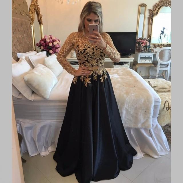 45987453eaaa2 الذهبي مطرز الترتر كم طويل أسود فساتين السهرة 2017 vestido دي فيستا مثير  انظر طريق خط