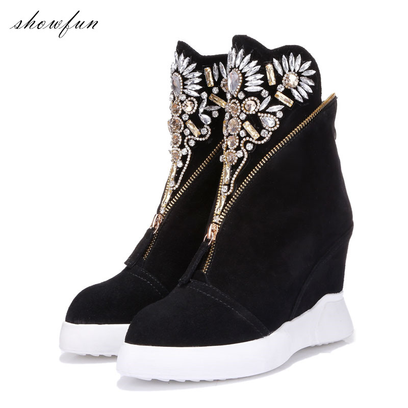 Women's Genuine Leather Wedge Platform Rhinestone Fashion Ankle Boots Comfort Winter Front Zip Short Booties Female Footwear HOT front lace up casual ankle boots autumn vintage brown new booties flat genuine leather suede shoes round toe fall female fashion