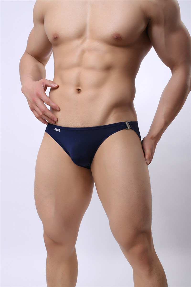 Mens Nylon Slip Small Mesh Breathable Briefs Low Rise Sexy Fashion Lock Buckle Men Bikini Underwear Briefs Brave Person 10