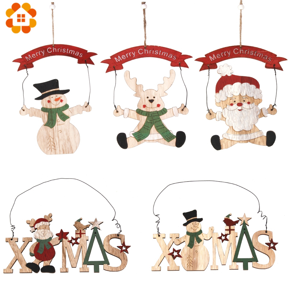 1PC Creative Merry Christmas Doorplate Wooden Pendants DIY Wood Crafts For Home Kids Gift Christmas Tree Ornaments Decorations in Pendant Drop Ornaments from Home Garden