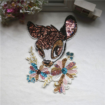 Deerin цветок блестками патчи Швейные на одежде аксессуары украшения палки вышивка аппликация патчи для одежды