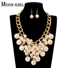 online shopping india Pearl choker Wedding Fashion African Beads Jewelry Set 2016 statement necklace set for women(China)