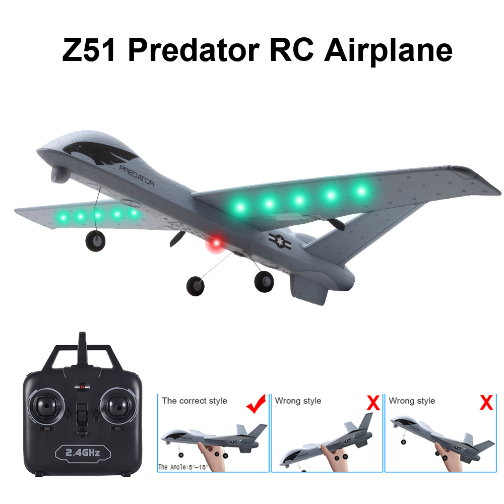 RC Airplane Plane Z51 20 Minutes Flight Time Glider 2.4G Flying Model with LED Hand Throwing Wingspan Foam Plane Toys for Kids