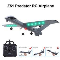 RC samolot samolot Z51 20 minut czas lotu szybowiec 2.4G latający Model z LED ręcznie rzucanie Wingspan pianki zabawki samoloty dla dzieci