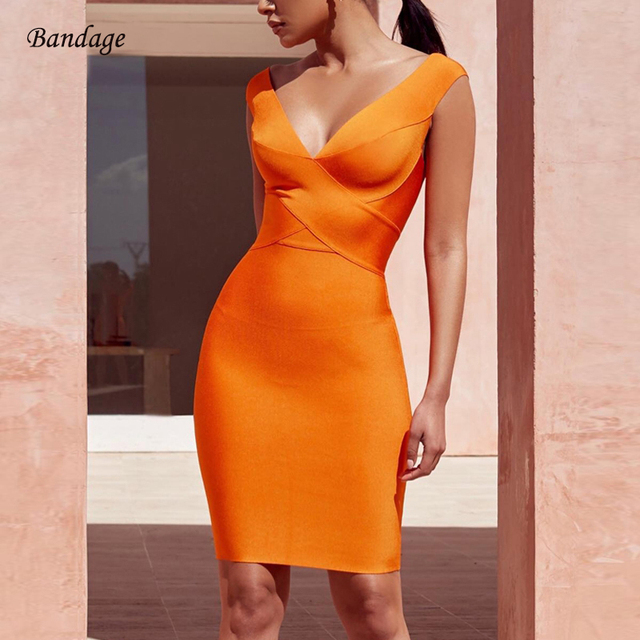 2018 New Arrival Sexy Bodycon Summer Cocktail Club Party Dresses For Women  Fashion Nova Orange Plunge a0dd0b8d545e