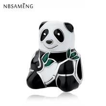 75e73f32f Free Shipping Silver Plated Sweet Panda Charm Mixed Enamel Beads Charms Fit  Original Pandora Bracelets &