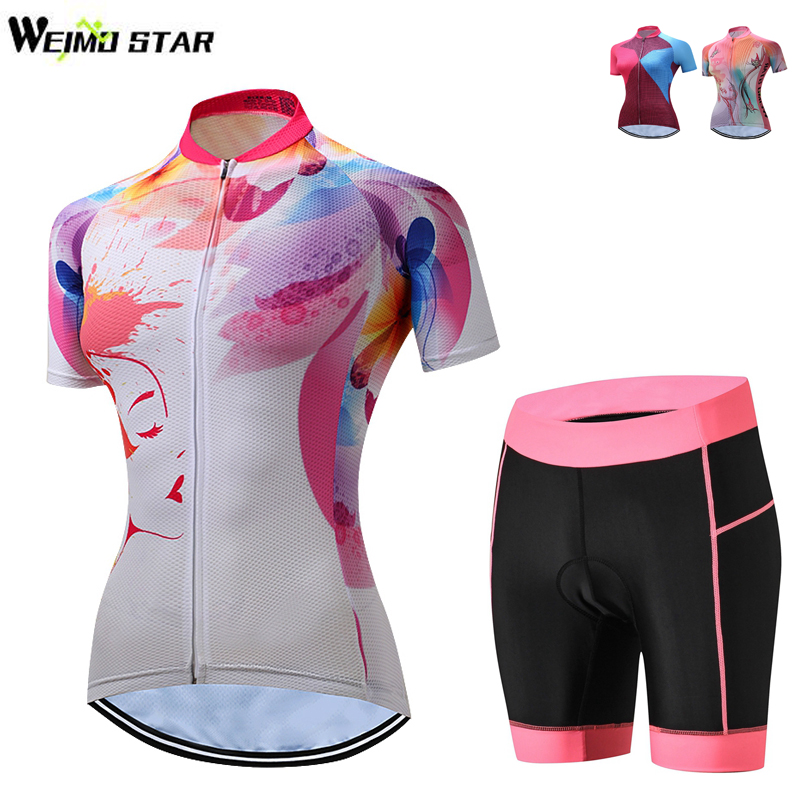 WEIMOSTAR Team Short Sleeve Pro Women Cycling Jersey Set Quick Dry Youth Bike Jersey MTB Ropa Ciclismo Riding Bicycle Clothing