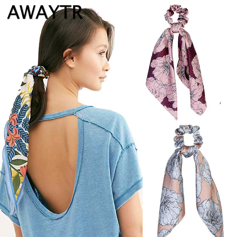 AWAYTR Elegant Women Print Elastic Hair Band Fashion Boho Bandana Hair Scarf Ladies   Headwear   Hair Ribbon Girls Hair Accessories