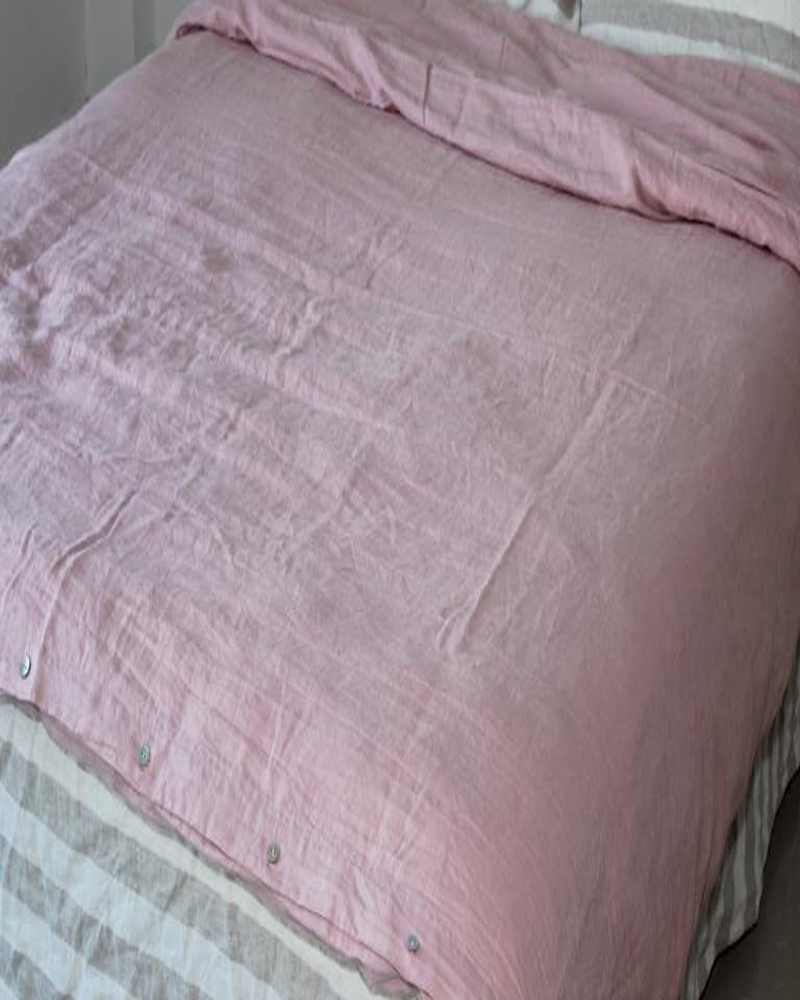 French Washed Linen Bed Duvet Cover Stonewashed Pure Linen Duvet Bedding Children Queen Bed Duvet Cover Double Pink 76x90